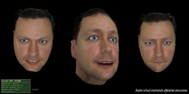 Avatar virtual mostrando diferentes emociones